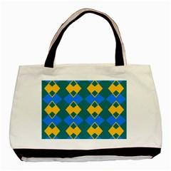 Blue yellow rhombus pattern                                                                           Basic Tote Bag