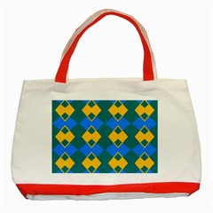 Blue yellow rhombus pattern                                                                           Classic Tote Bag (Red)