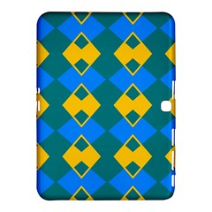 Blue yellow rhombus pattern                                                                           			Samsung Galaxy Tab 4 (10.1 ) Hardshell Case