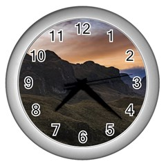 Sunset Scane At Cajas National Park In Cuenca Ecuador Wall Clocks (silver)