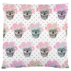Floral Skull Cushion  Large Flano Cushion Case (Two Sides)