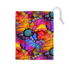 Rainbow Bursts Alcohol Inks Drawstring Pouches (Large)