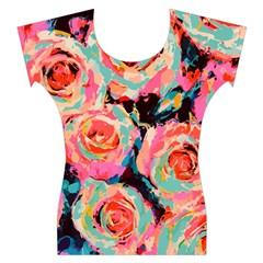 Painted Pastel Roses Women s Cap Sleeve Top