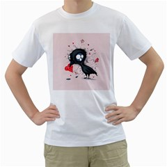 Baby Crow  Men s T-Shirt (White) (Two Sided)