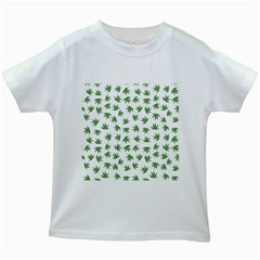 Marijuana Pattern Kids White T-Shirts