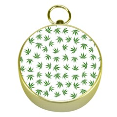Marijuana Pattern Gold Compasses