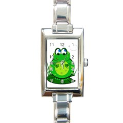 Green Frog Rectangle Italian Charm Watch