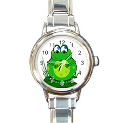 Green Frog Round Italian Charm Watch