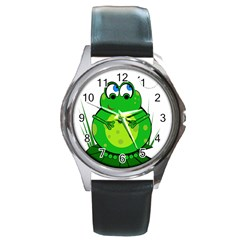 Green Frog Round Metal Watch