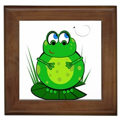 Green Frog Framed Tiles