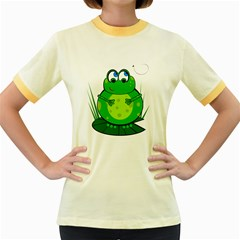 Green Frog Women s Fitted Ringer T-Shirts
