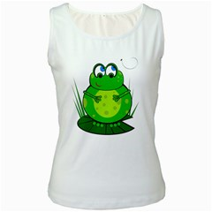 Green Frog Women s White Tank Top