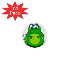 Green Frog 1  Mini Buttons (100 Pack)