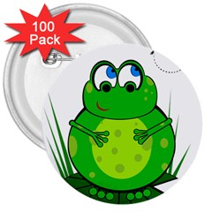 Green Frog 3  Buttons (100 pack)