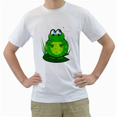 Green Frog Men s T-Shirt (White) (Two Sided)