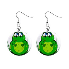 Green Frog Mini Button Earrings