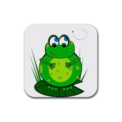 Green Frog Rubber Square Coaster (4 Pack)