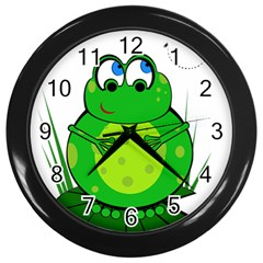 Green Frog Wall Clocks (Black)