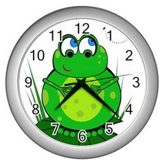 Green Frog Wall Clocks (Silver)