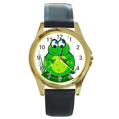 Green Frog Round Gold Metal Watch