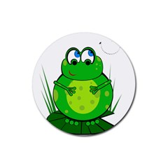 Green Frog Rubber Round Coaster (4 Pack)