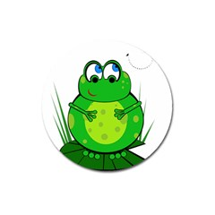 Green Frog Magnet 3  (round)