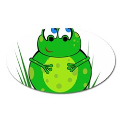 Green Frog Oval Magnet