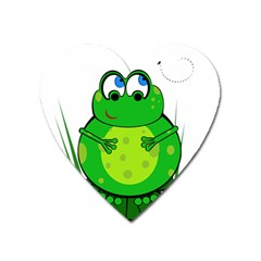 Green Frog Heart Magnet