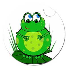 Green Frog Magnet 5  (Round)