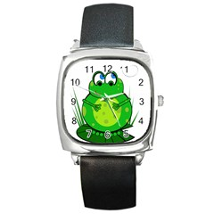 Green Frog Square Metal Watch