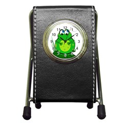 Green Frog Pen Holder Desk Clocks