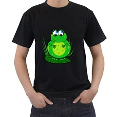 Green Frog Men s T-Shirt (Black) (Two Sided)