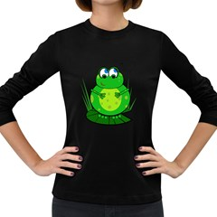 Green Frog Women s Long Sleeve Dark T-Shirts
