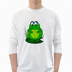 Green Frog White Long Sleeve T Shirts
