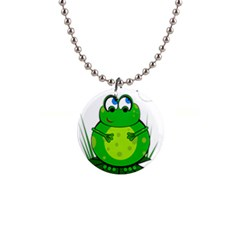 Green Frog Button Necklaces