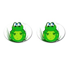 Green Frog Cufflinks (Oval)
