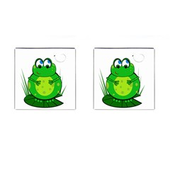 Green Frog Cufflinks (square)