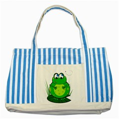 Green Frog Striped Blue Tote Bag