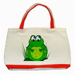 Green Frog Classic Tote Bag (red)
