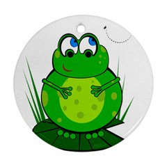 Green Frog Round Ornament (Two Sides)
