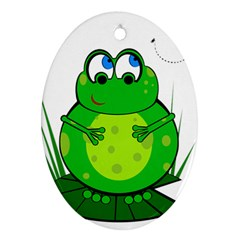 Green Frog Oval Ornament (two Sides)