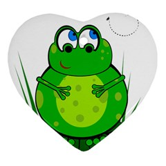 Green Frog Heart Ornament (2 Sides)