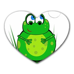 Green Frog Heart Mousepads