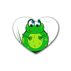Green Frog Rubber Coaster (Heart)