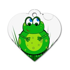 Green Frog Dog Tag Heart (One Side)