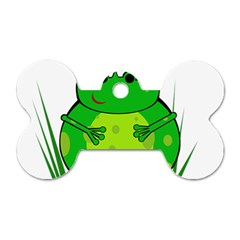 Green Frog Dog Tag Bone (One Side)