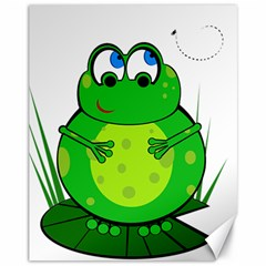 Green Frog Canvas 11  X 14