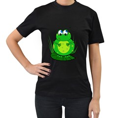 Green Frog Women s T-Shirt (Black)