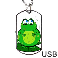 Green Frog Dog Tag USB Flash (Two Sides)