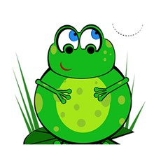 Green Frog Birthday Cake 3d Greeting Card (7x5)